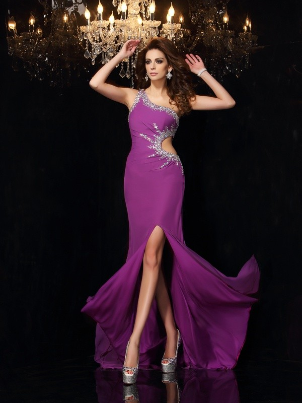 Cheerful Spirit Sheath Style One-Shoulder Beading Long Chiffon Dresses