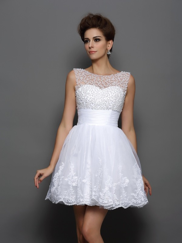 Open to Adoration Princess Style Bateau Pearls Short Elastic Woven Satin Cocktail Dresses