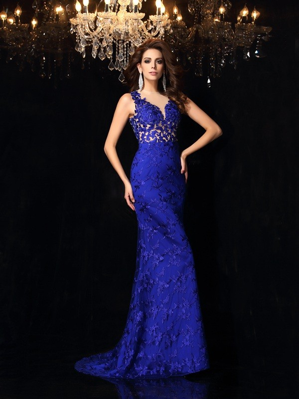 Dancing Queen Mermaid Style High Neck Lace Long Satin Dresses