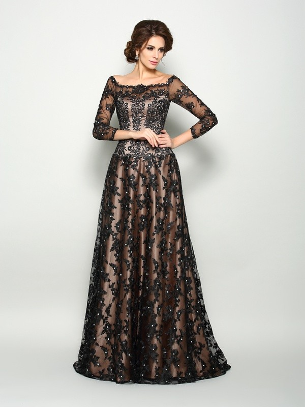 Stylish Refresh Princess Style Off-the-Shoulder Lace Long Satin Mother of the Bride Dresses