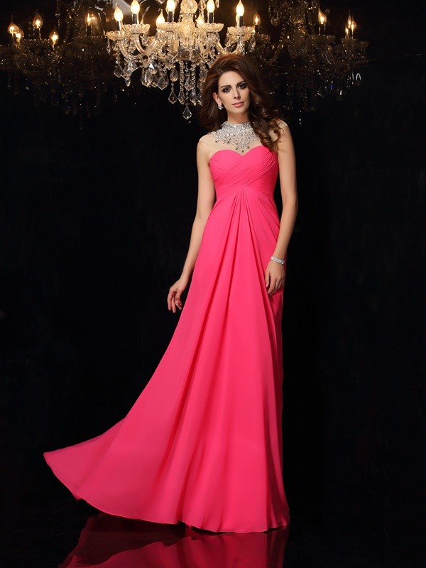 Romantic Vibes Princess Style High Neck Ruched Long Chiffon Dresses