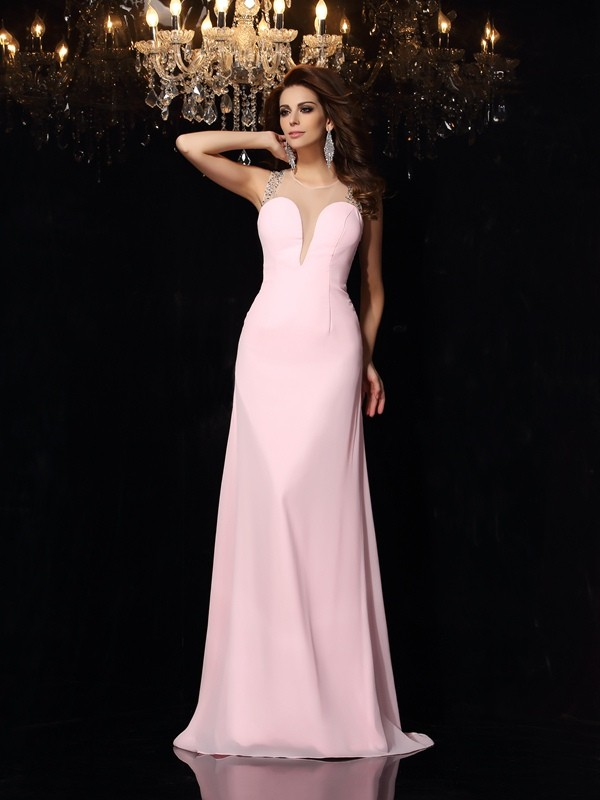 Dashing Darling Mermaid Style Scoop Beading Long Chiffon Dresses