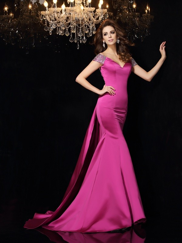 Glitz the Spot Mermaid Style Off-the-Shoulder Beading Long Satin Dresses