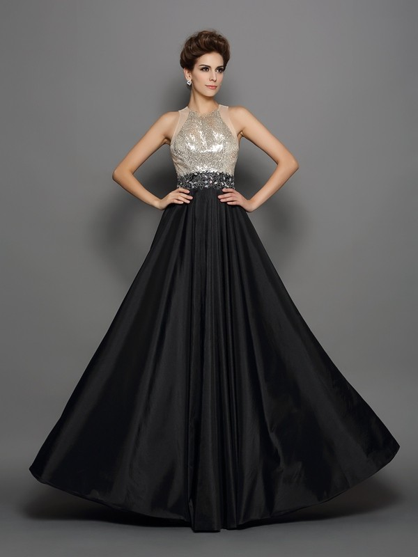 Savor the Occasion Princess Style High Neck Sequin Long Taffeta Dresses