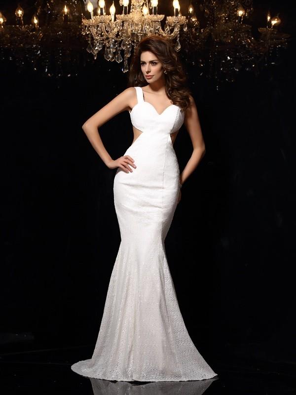 Aesthetic Honesty Mermaid Style Straps Beading Long Lace Dresses