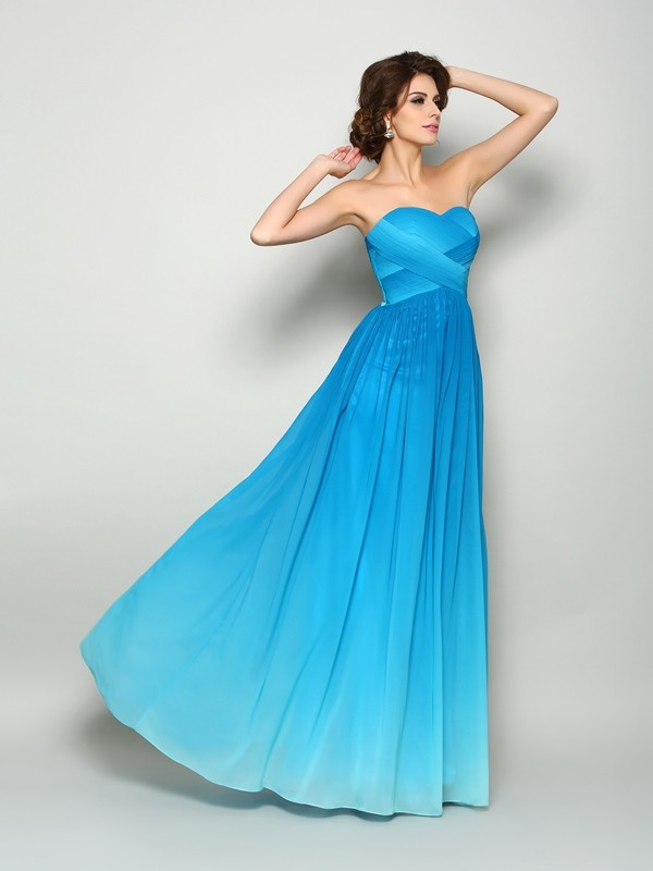 Chic Chic London Princess Style Sweetheart Pleats Long Chiffon Dresses