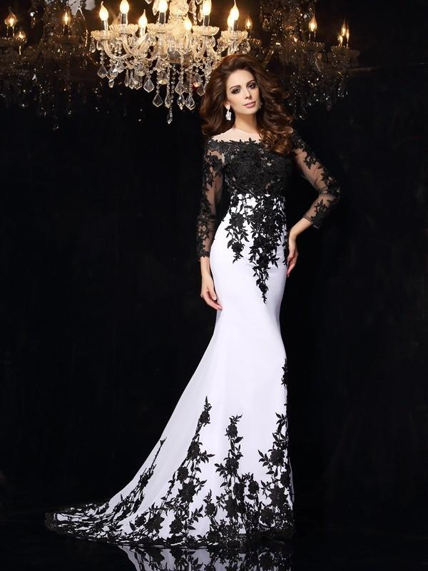 Limitless Looks Sheath Style Scoop Lace Long Chiffon Dresses