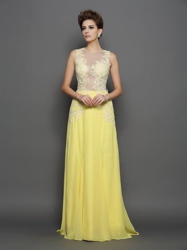 Voiced Vivacity Princess Style Scoop Lace Long Chiffon Dresses