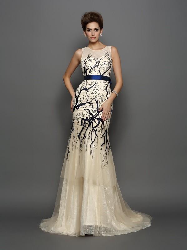 Confident Option Mermaid Style Scoop Applique Long Tulle Dresses