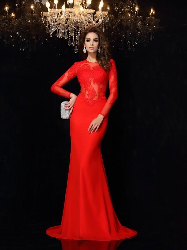 Cheerful Spirit Sheath Style Scoop Lace Long Chiffon Dresses