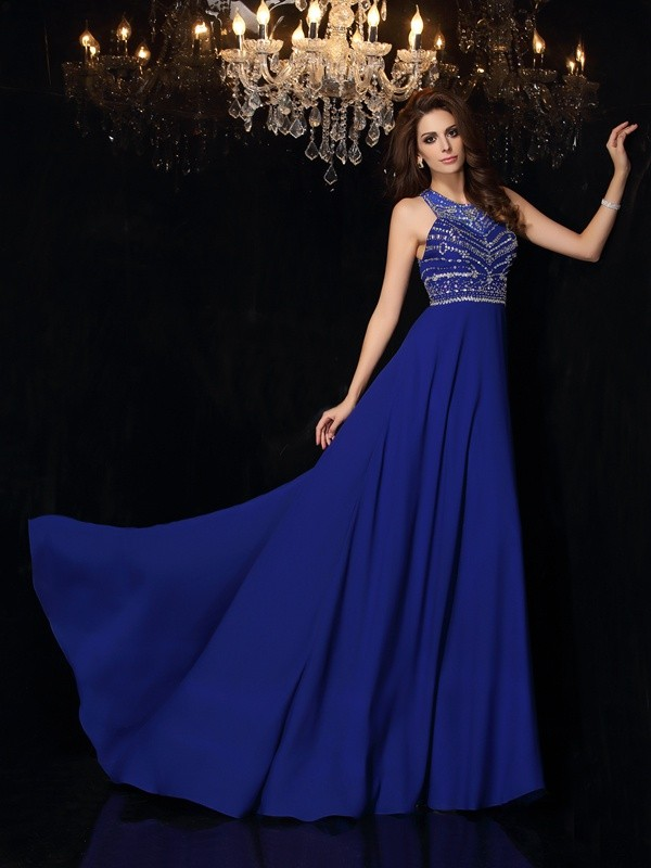 Too Much Fun Princess Style High Neck Beading Long Chiffon Dresses