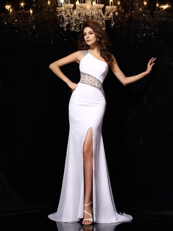 Dancing Queen Sheath Style One-Shoulder Beading Long Chiffon Dresses