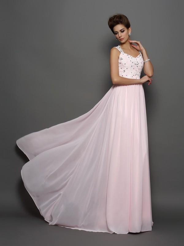 Lively Identity Princess Style Straps Beading Applique Long Chiffon Dresses