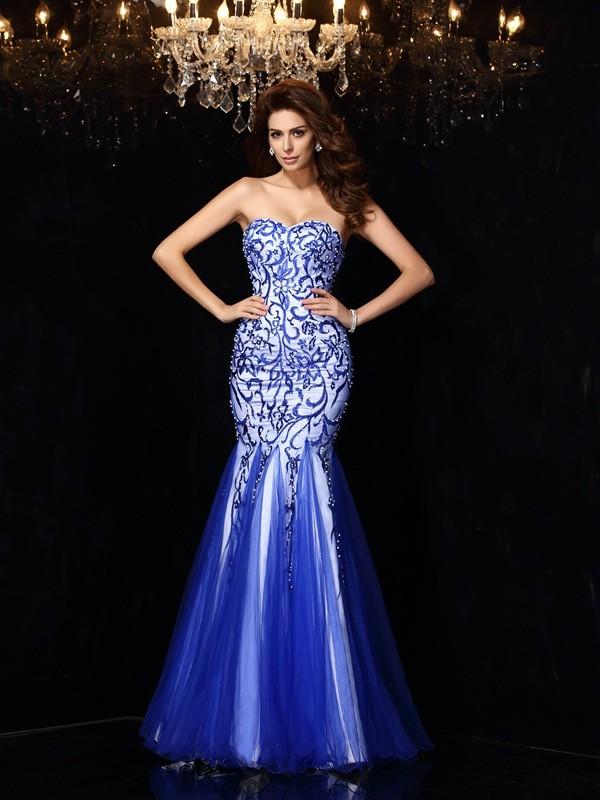 Easily Adored Sheath Style Sweetheart Beading Long Net Dresses