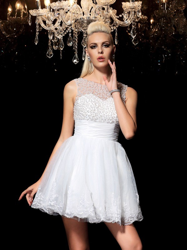 Time to Shine Princess Style Sheer Neck Beading Short Elastic Woven Satin Cocktail Dresses