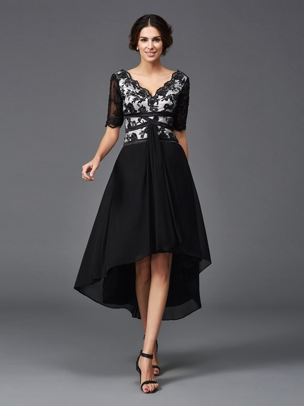 Voiced Vivacity Princess Style V-neck Lace High Low Chiffon Dresses