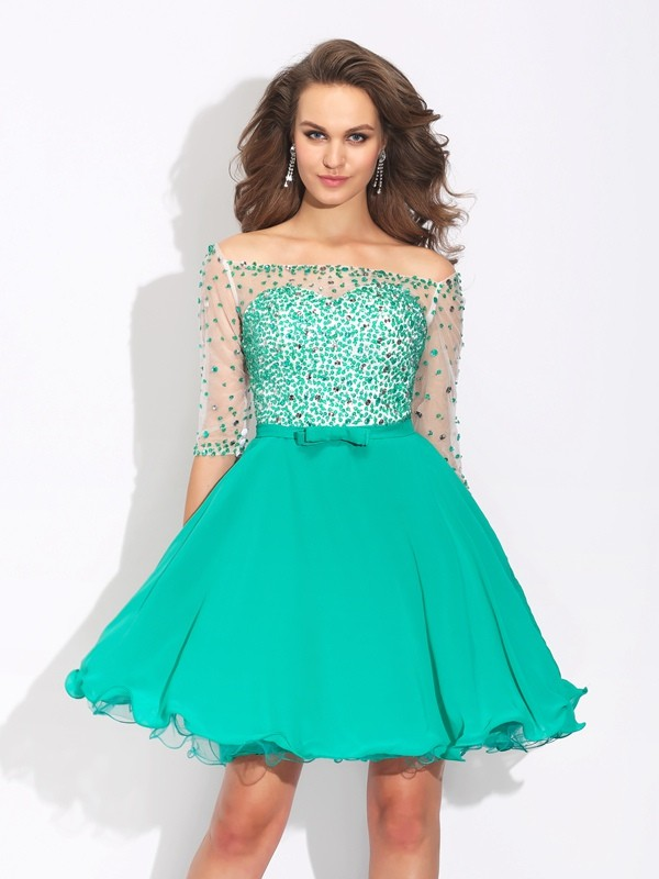 Cordially Delighted Princess Style Off-the-Shoulder Beading Short Chiffon Dresses