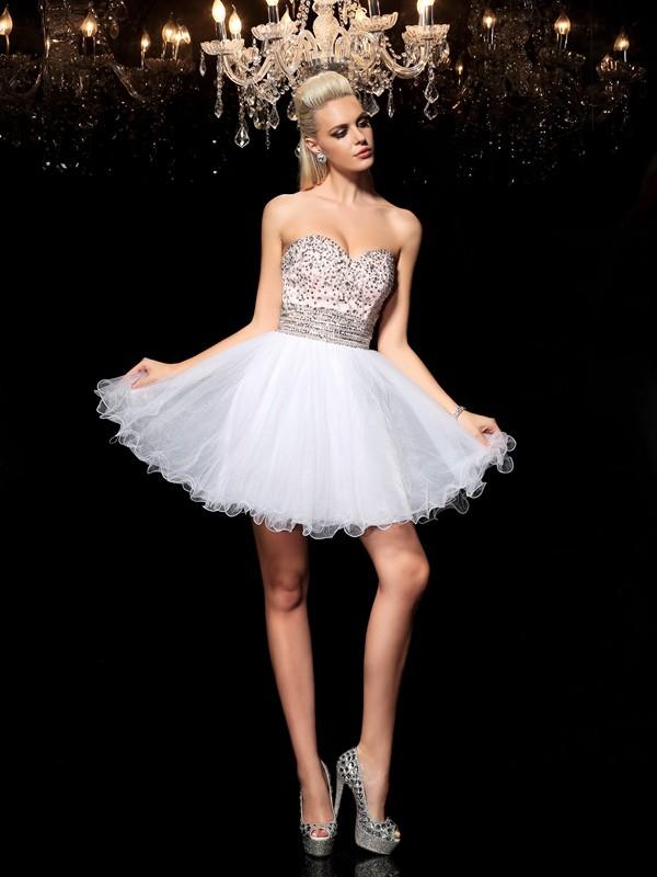 Festive Self Princess Style Sweetheart Beading Short Net Cocktail Dresses