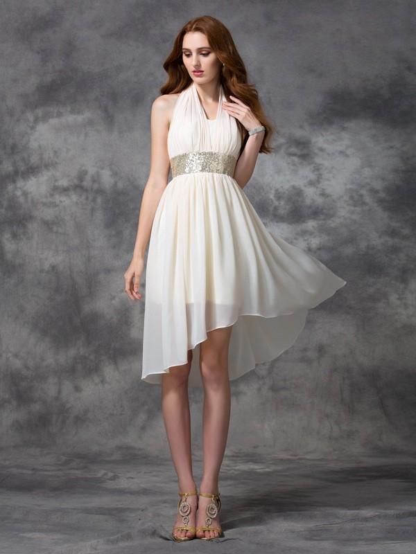 Confident Option Princess Style Halter Sequin High Low Chiffon Cocktail Dresses