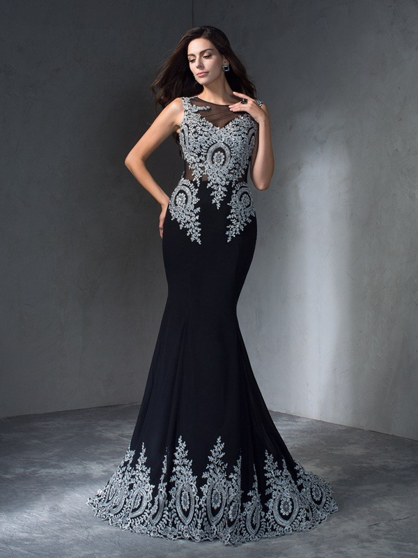 Stylish Refresh Mermaid Style Scoop Applique Long Chiffon Dresses