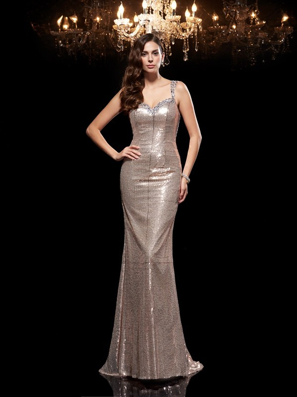 Just My Style Sheath Style Straps Beading Long Sequins Dresses