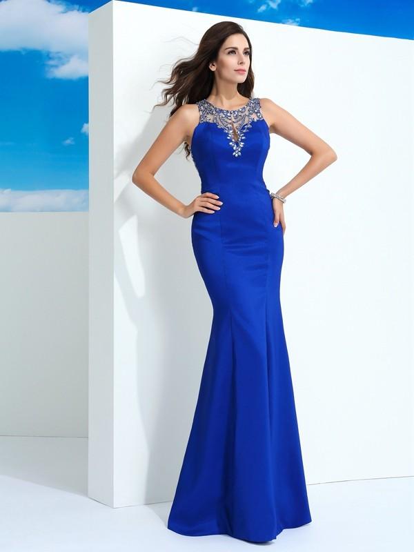 Beautiful You Sheath Style Sheer Neck Beading Long Elastic Woven Satin Dresses