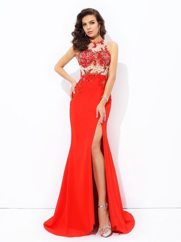 Touch of Texture Sheath Style Jewel Beading Long Chiffon Dresses