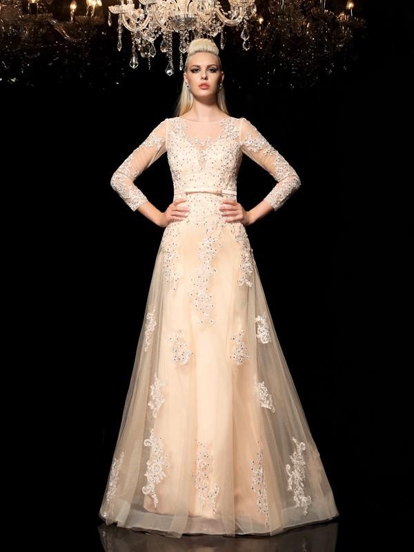 Befits Your Brilliance Princess Style Sheer Neck Applique Long Satin Dresses