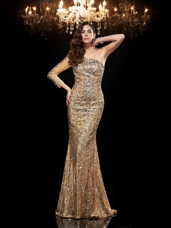 Modern Mood Mermaid Style One-Shoulder Beading Long Sequins Dresses