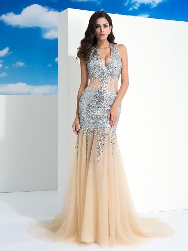Absolute Lovely Sheath Style Halter Paillette Long Net Dresses