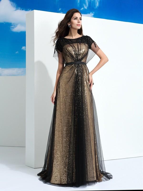 Pleasant Emphasis Princess Style Sheer Neck Paillette Long Net Dresses