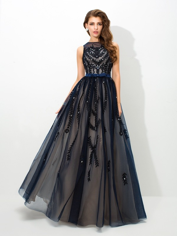 Treasured Reveries Princess Style Sheer Neck Applique Long Tulle Dresses