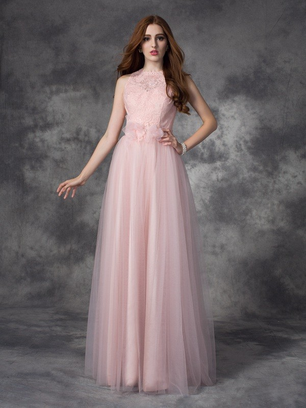 Limitless Looks Princess Style Bateau Hand-Made Flower Long Net Dresses