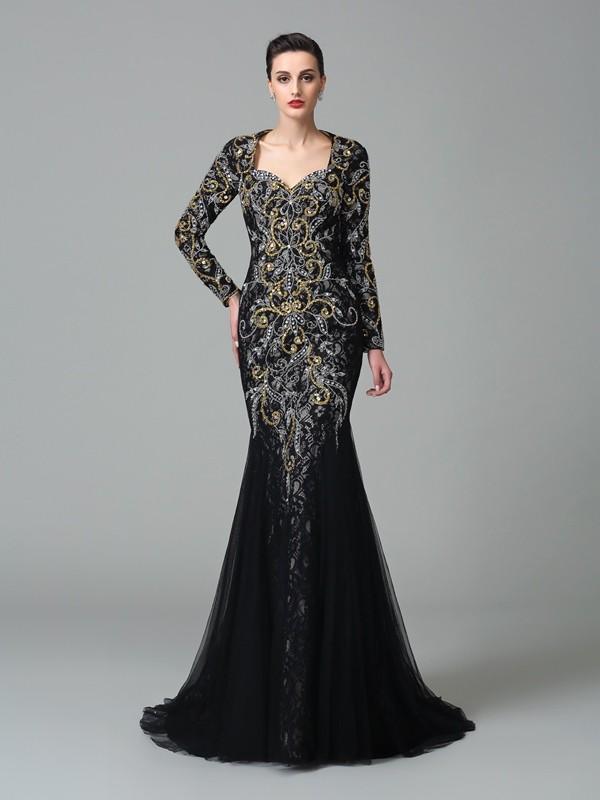 Desired Spotlight Mermaid Style Sweetheart Beading Long Net Dresses
