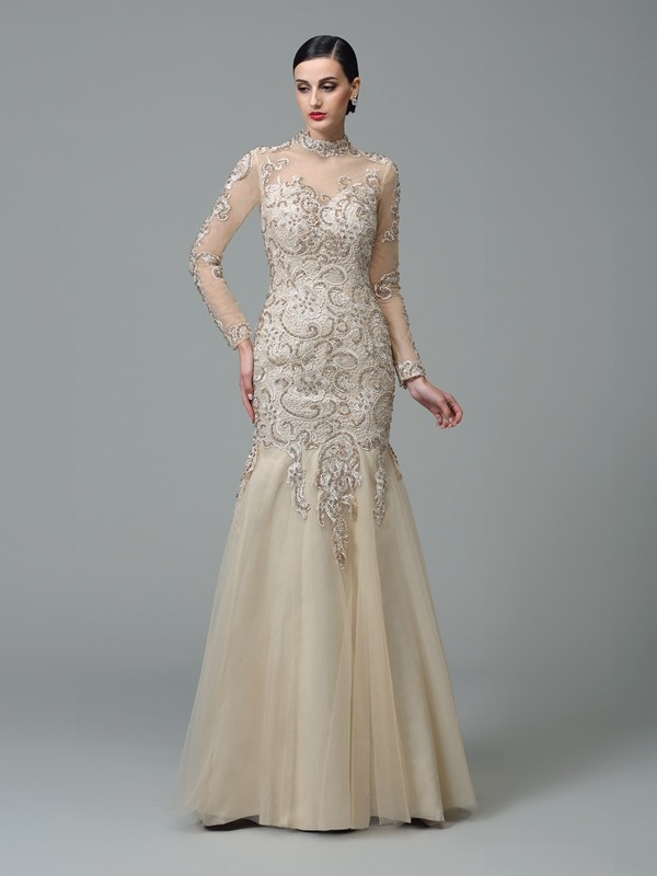 Comfortably Chic Sheath Style High Neck Applique Long Net Dresses