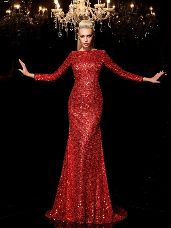 Festive Self Sheath Style Scoop Sequin Long Sequins Dresses