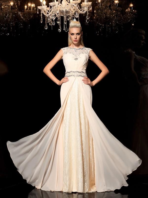 Confident Option Princess Style Sheer Neck Beading Long Chiffon Dresses