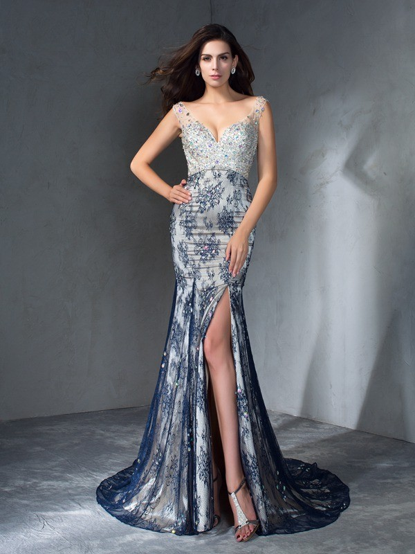 Dancing Queen Mermaid Style V-neck Beading Long Lace Dresses