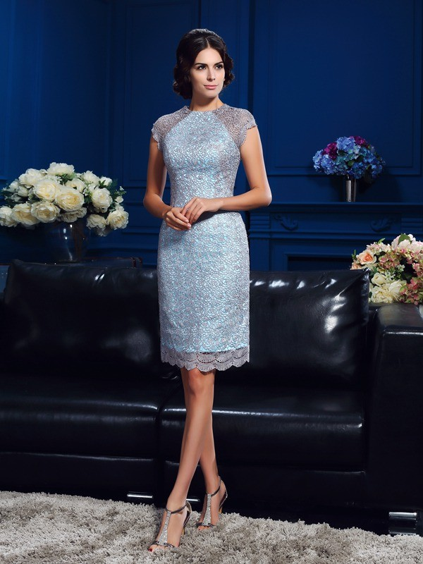 Limitless Looks Sheath Style Scoop Lace Short Satin Mother of the Bride Dresses