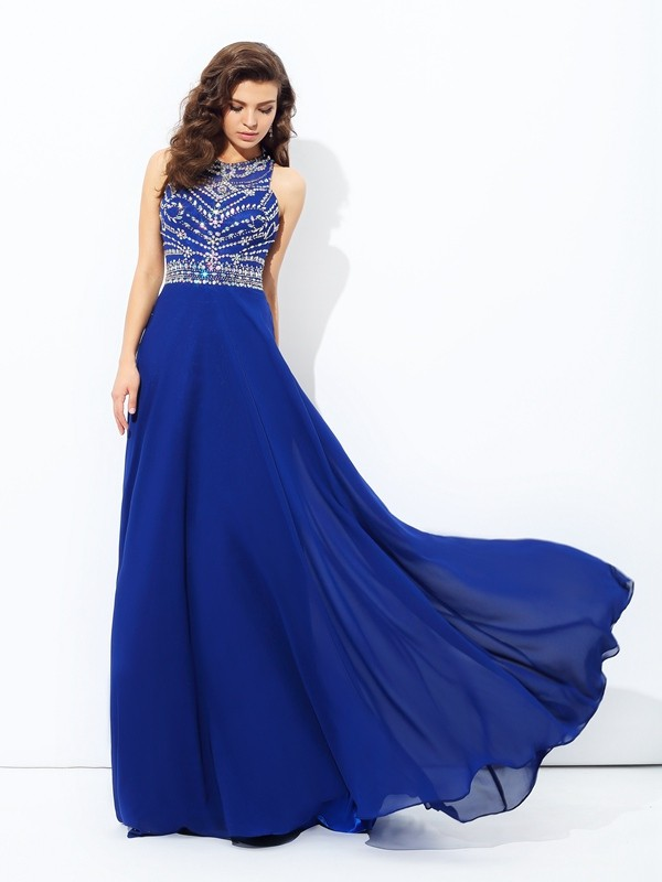 Voiced Vivacity Princess Style Scoop Beading Long Chiffon Dresses