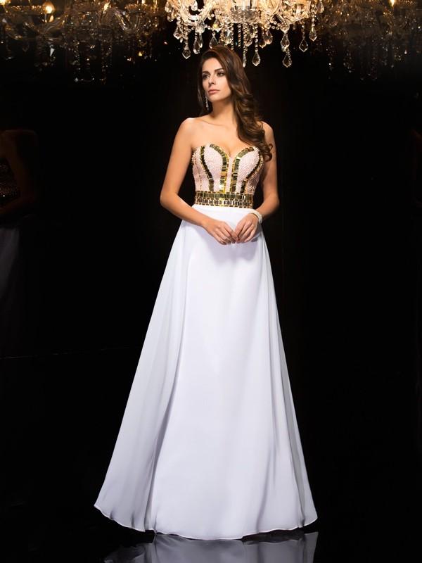 Sweet Sensation Princess Style Sweetheart Sequin Long Chiffon Dresses