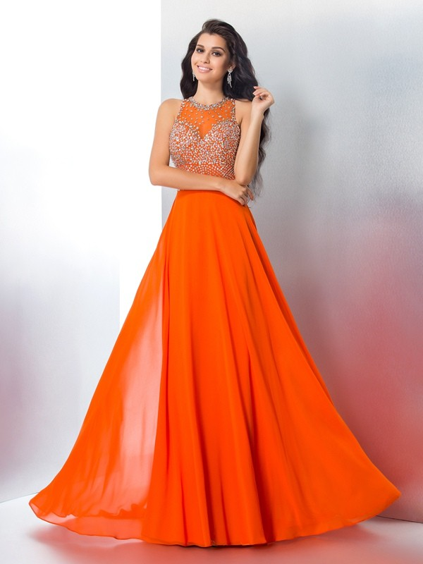 Fabulous Fit Mermaid Style Scoop Beading Long Chiffon Dresses