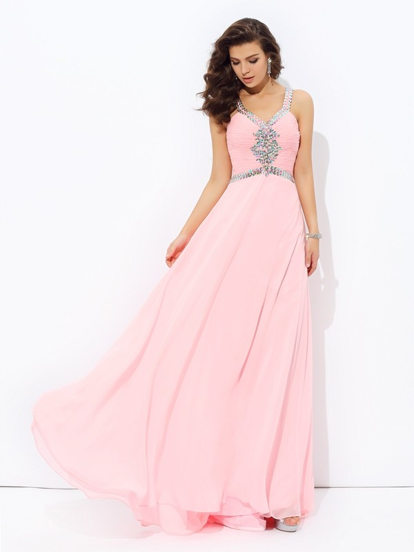 Visual Moment Princess Style Straps Beading Long Chiffon Dresses