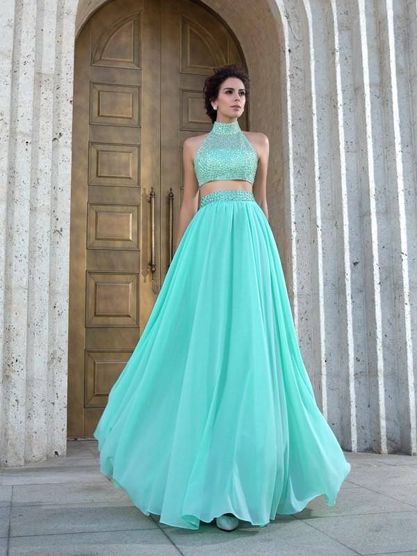 Stylish Refresh Princess Style High Neck Beading Long Chiffon Two Piece Dresses