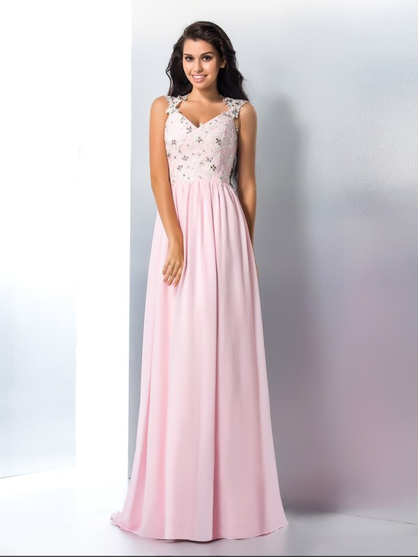 Vibrant Stylist Princess Style V-neck Applique Long Chiffon Dresses