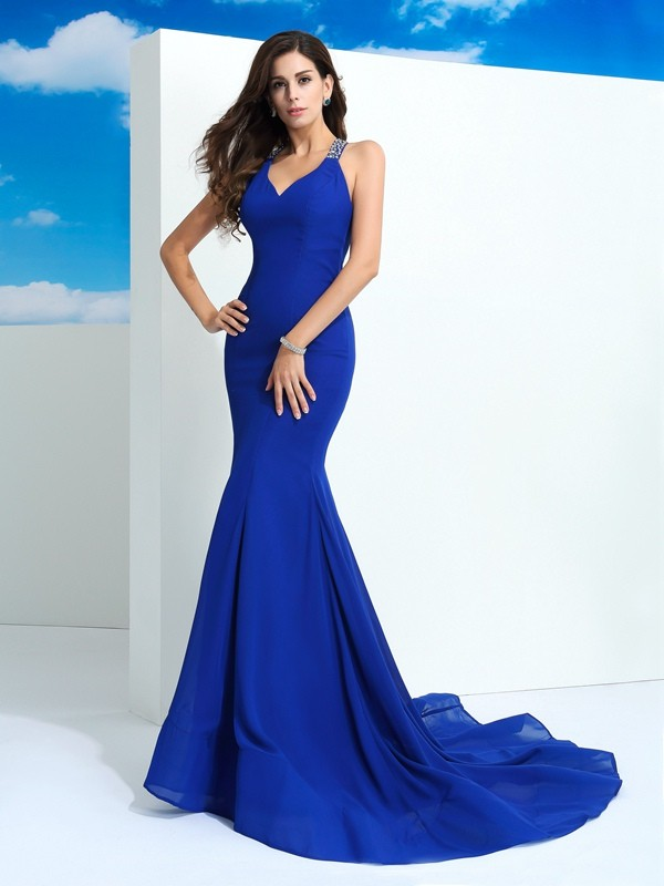 Just My Style Sheath Style Straps Beading Long Chiffon Dresses