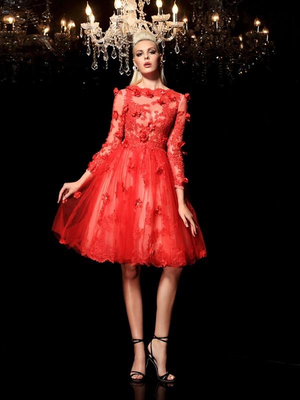 Fresh Picks Princess Style Sheer Neck Applique Short Net Cocktail Dresses
