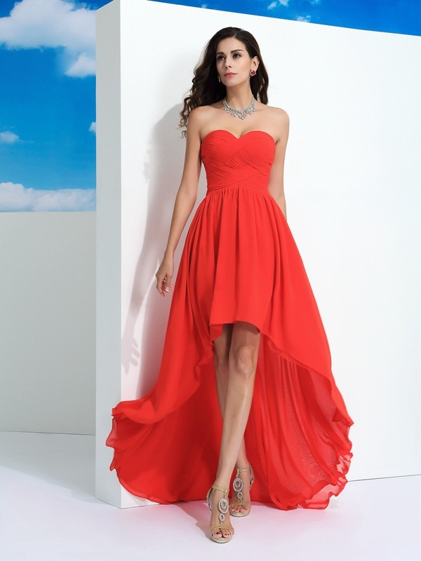Beautiful You Princess Style Sweetheart Pleats High Low Chiffon Dresses