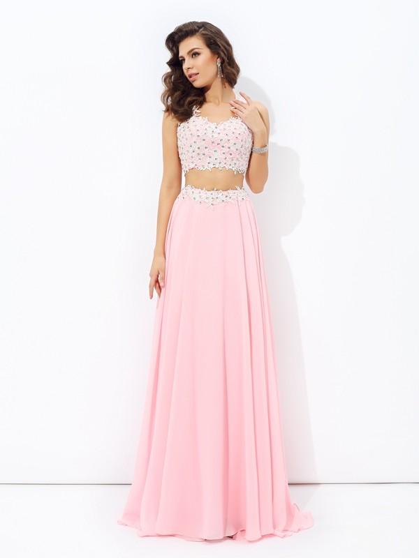Easily Adored Princess Style Straps Applique Long Chiffon Two Piece Dresses