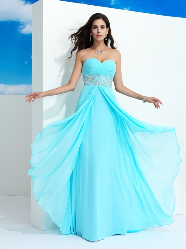 Naturally Chic Princess Style Sweetheart Beading Long Chiffon Dresses